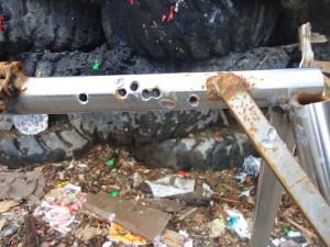 Apr 11, 2015, target frame, several holes, intent to damage