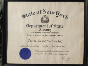 Certificate of incorporation State of New York Department of State Albany Greene Rod and Gun Club Inc.